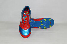 "NEW ADIDAS ""F30 TRX FG J"" JUNIOR LACE UP FOOTBALL/SOCCER BOOTS IN RED/BLUE"