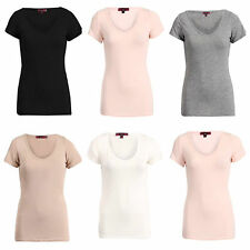 NEW WOMENS LADIES CASUAL SOFT JERSEY SHORT SLEEVE PLAIN V NECK TOP LOOK T SHIRT