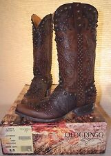 "Women's Old Gringo Raelene 13"" Studded Chocolate/Brass Boots L1244-5"