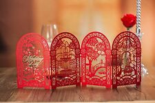 Red wedding invitation cards kit with free envelopes, seals