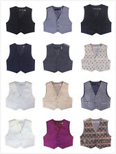 NEW Boys Formal Vest size 000–16  Many Colours with Textile or Leaf Pattern