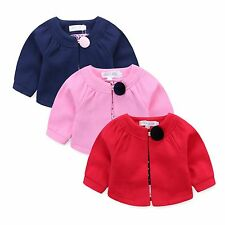 NEW Baby/Girls Cosy Warm Button Silk Lining Cardigan RED NAVY PINK WHITE sz000-6