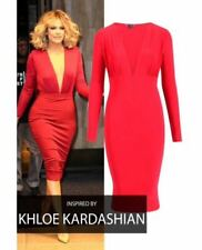 NEW WOMENS LADIES CELEBRITY LOOK PLUNGE V NECK LONG SLEEVE PARTY MIDI RED DRESS