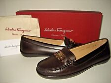 $450 NEW Salvatore Ferragamo Women Richie Leather Slip-On Loafers Shoes US 6-9.5