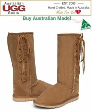 NEW 100% Australian Made Sheepskin Tall Lace Up Ugg Boots. 16 Colours. Any Size.
