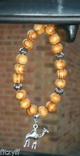 Car Hanging Arab Arabian 3D Camel Pendant Charm & Wood Wooden Beads One Hump