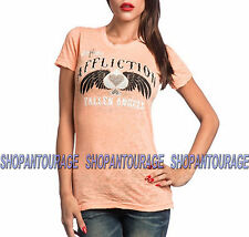 AFFLICTION ACMC Fallen AW12788 Women`s New Orange Burnout T-shirt