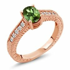 1.07 Ct Oval Green Tourmaline White Sapphire 18K Rose Gold Plated Silver Ring