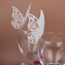 50 Wedding Table Wine Glass Decor Party Place Card Laser Cut Ivory Butterfly