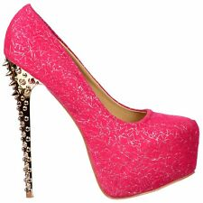 Ladies Spiked Studded High Heel Stiletto Fuchsia Pink Party Wedding Shoes