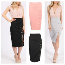 NEW WOMEN LADIES SOFT STRETCH BODYCON FIT LACE UP FRONT EYELET MIDI PENCIL SKIRT
