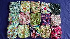 Lot of 15 New Girls Tagless ALVA Cloth Pocket Diapers With Double Gussets