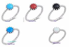 Sterling Silver 925 PRETTY ROUND STONES WITH BEADS DESIGN SILVER RINGS SIZE 4-10