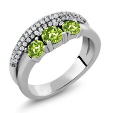 1.81 Ct Round Green Peridot 925 Sterling Silver Ring