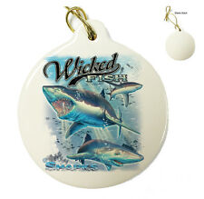 Wicked Fish Shark - Christmas Xmas Tree Porcelain Ornaments