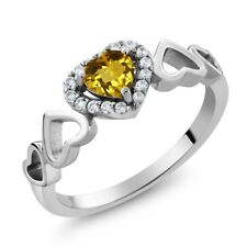 0.62 Ct Heart Shape Yellow Citrine 925 Sterling Silver Ring