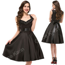❤BLACK XMAS Style❤1950's Rockabilly Swing Pinup Sz LHousewife Prom Party Dresses