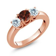 0.99 Ct Round Red Garnet Sky Blue Aquamarine 18K Rose Gold Ring