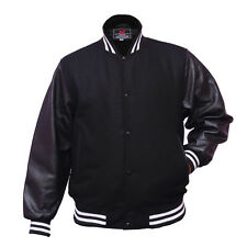 New Letterman Baseball Varsity Jacket Wool Body Genuine Leather Sleeves, Black