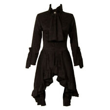 Womens Black Golden Steampunk Huntress Victorian Vintage Cosplay Coat Jacket