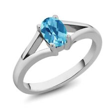 0.95 Ct Oval Checkerboard Swiss Blue Topaz 925 Sterling Silver Ring