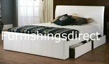 4FT, 4FT6 5FT 6FT WHITE BLACK BROWN MADISSEN FAUX LEATHER 4 DRAWER STORAGE BED
