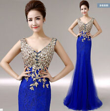 Womens V Neck Diamond Lace Wedding Toast Dress Fishtail Party Gown Sexy Long N