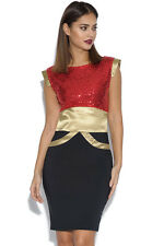 Tempest Ollie Sequin Red, Black & Gold Bodycon Dress BNWT RRP £115 Size 6 - 16