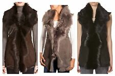 Ladies Uk Made New Real Fur Suede Leather Waistcoat Sleeveless Body warmer Gilet