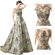 Vintage Luxury A Line Long Formal Evening Dress Floral Pageant Prom Ball Gown 14