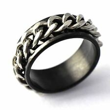 mens jewelry fashion Black stainless steel silver chain band ring size 7-10