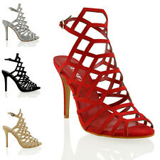 NEW WOMENS HIGH STILETTO HEEL CUT OUT  LADIES PEEP TOE CAGED SANDALS SHOES SIZE