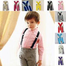 New Solid Elastic Adjustable Braces Boys Girls Kid Clip on Y Back Suspenders H15