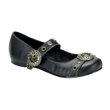 Demonia DAISY-09 SteamPunk Black Vegan Leather Goth Oxford Flats Mary Jane Shoes