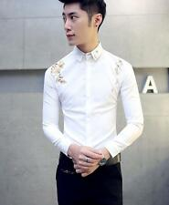 Men's Casual Slim Long Sleeve T-Shirts Embroidery Dress Inlay Paillette Shirt