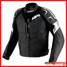 Spidi Leather Motorcycle Jacket TRK Evo Black White Sport Protections