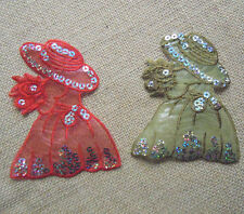 Wear Hat Lady  Embroidered Ion On Applique with Sequins Patch I0108