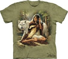 Protector T-Shirt by The Mountain. Wolf Native American Maiden Wolves S-5XL NEW
