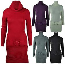 New Womens Polo Neck Knit Jumper Ladies Long Sleeve Belt Knitted Dress Size 8-14