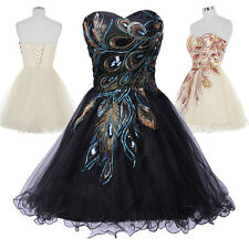 Peacock Embroidered Party Bridesmaid Prom Dress Cocktail Dress Graduation Formal