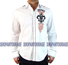 Rebel Spirit Embroidered Fleur LSW151778 Men`s New White Shirt