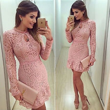 Women Sexy Elegant Bodycon Summer Evening Cocktail Party Lace Floral Mini Dress
