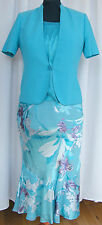 JACQUES VERT LAGOON RNGE SILK DEVORE AQUA/PURPLE SKIRT TURQUOISE TOP JACKET N1L
