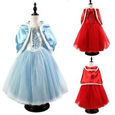 Kids Girls Princess Tulle Cloak  Flowers Graceful Dresses Costume Party