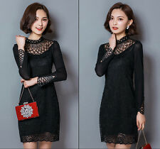 Spring Summer Graceful Womens High Collar Long Sleeve Lace Floral Mini Dress