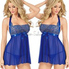 Women Sexy Lingerie Lace Floral Dress Underwear Blue Babydoll Sleepwear+G-string