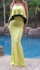 Maya Antonia-TALL SIZE-Sexy Strapless Ruffle Maxi Dress Yellow w/Black trim