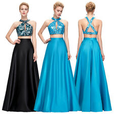 SEXY 2pcs Long PROM Dress Sequined Formal Evening Ball Gown Bridesmaids Dresses