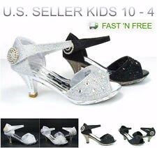 Girl's Kid's Party Wedding Pageant Sandals Dress Shoes Low Heels Rhinestones