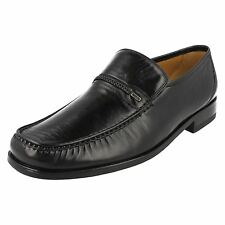 Mens Loake Black Leather Moccasin Style Casual Slip On Shoes Reno